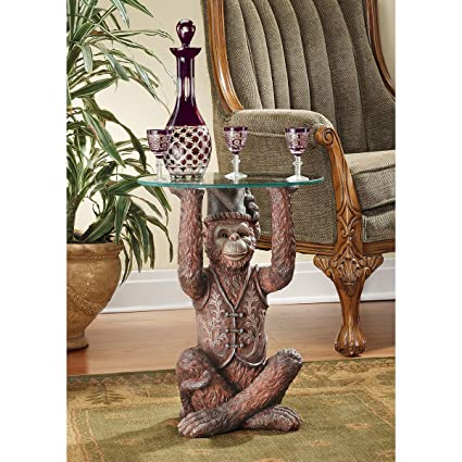Design Toscano Exotic Decor Moroccan Monkey Business Glass Topped Side  Table, 21 Inch, Polyresin