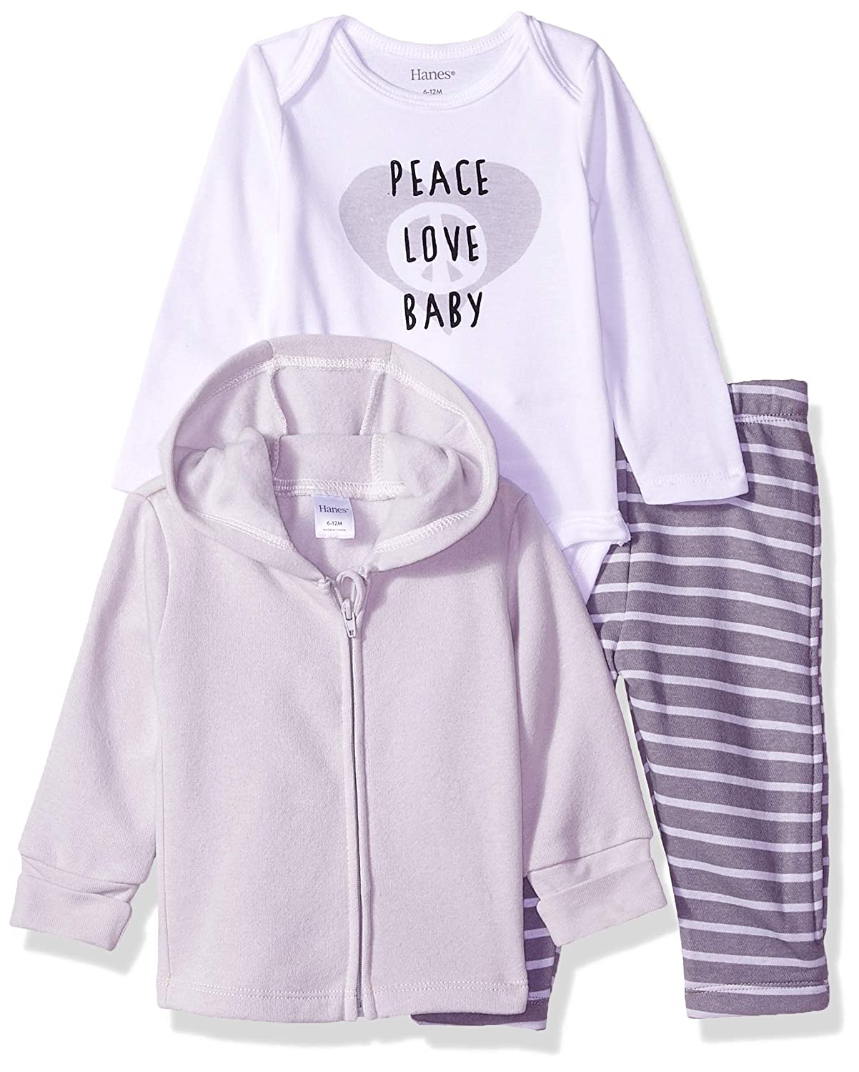 Hanes Ultimate Baby Zippin Zip Pant with Bodysuit and Fleece Hoodie