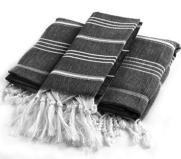 Cacala Pure Serie baño Turco y Toalla de Mano Set, 2 Piezas, algodón, Negro, 95 x 175 x 0.5 cm: Amazon.es: Hogar