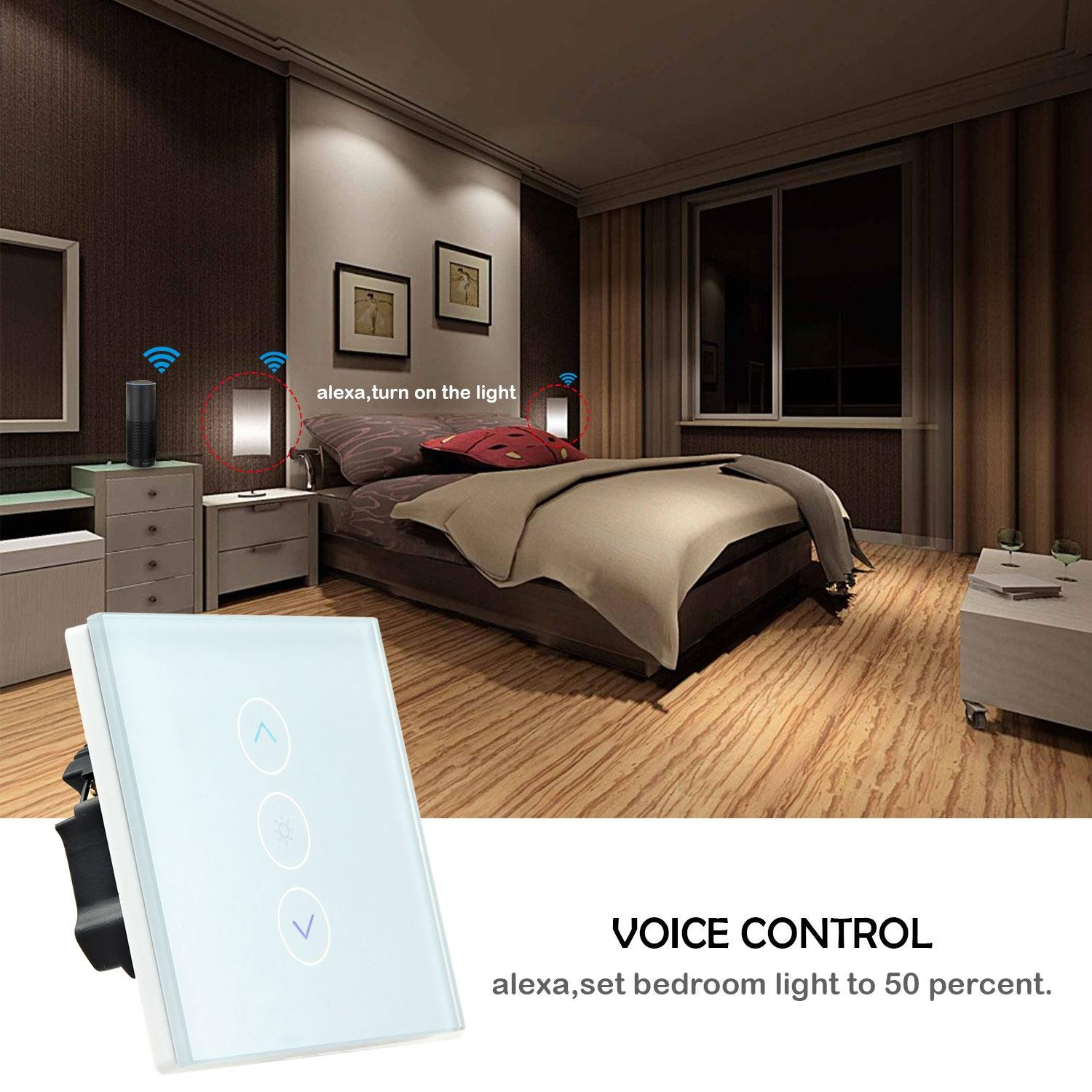 FOONEE Wifi Dimmer Switch, Home Decoration Smart Dimmer Switch with Alexa, Google Home Touch Switch Outlet Wifi Smart Lighting Control for Bedroom, Kitchen, Living Room(Neutral Wiring Required) by FOONEE (Image #3)