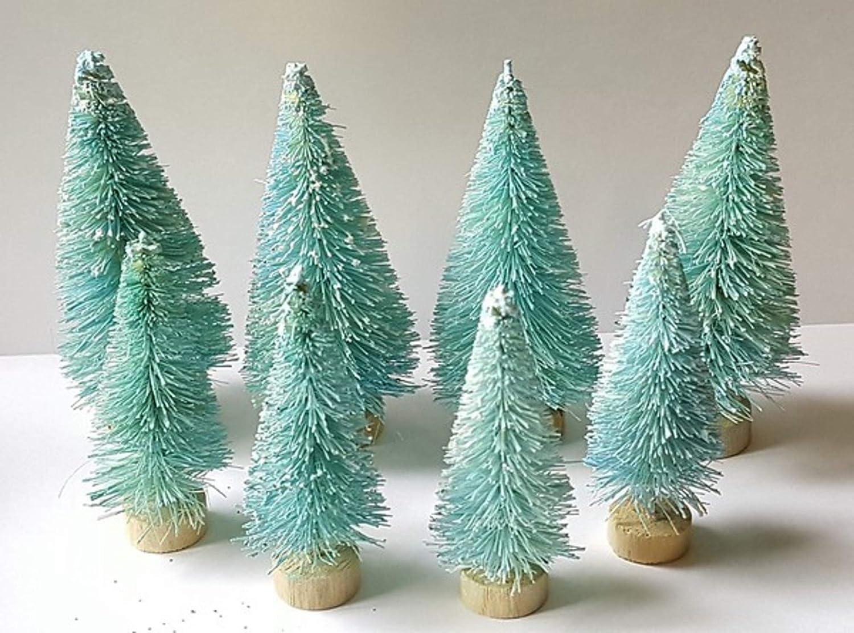 Very Vintage n More 8 Mini Aqua Blue Light Teal Miniature Sisal Bottle Brush Christmas Trees
