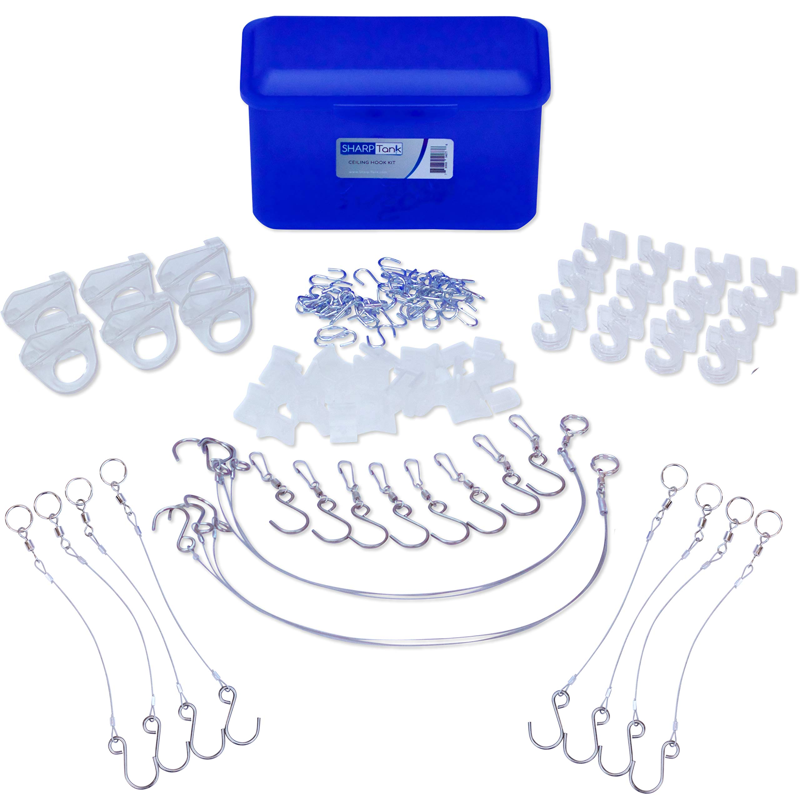 Sharp Tank Ceiling Hook Kit - 110 Piece Assortment Includes Ceiling Hooks and Hangers with Clips Designed for Suspended Ceilings and Drop Ceilings