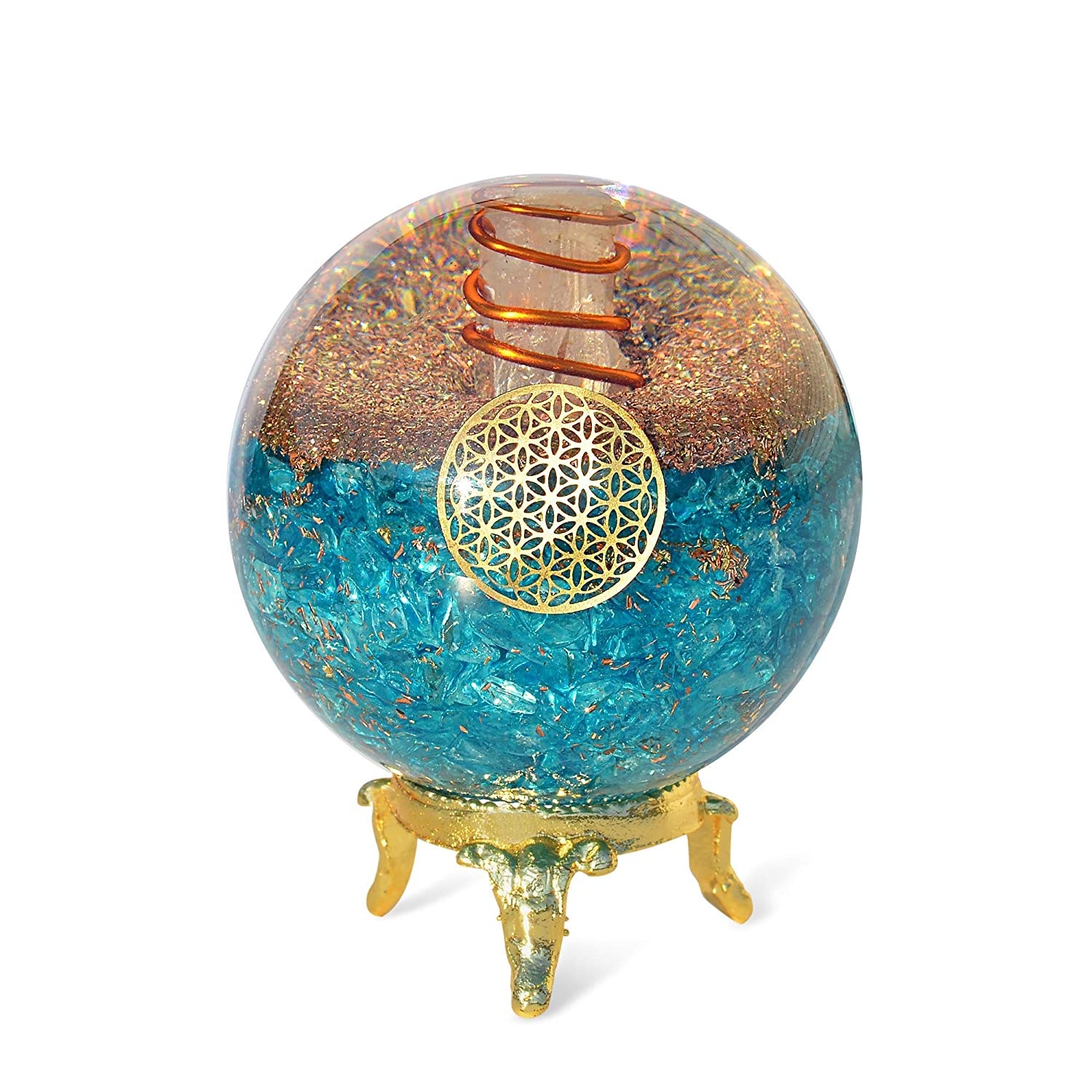 amazon com orgonite crystal blue aquamarine crystal ball with stand for positive energy emf protection and chakra balancing with flower of life symbol to promote purpose serenity and courage handmade orgonite crystal blue aquamarine crystal ball with stand for positive energy emf protection and chakra balancing with flower of life symbol to