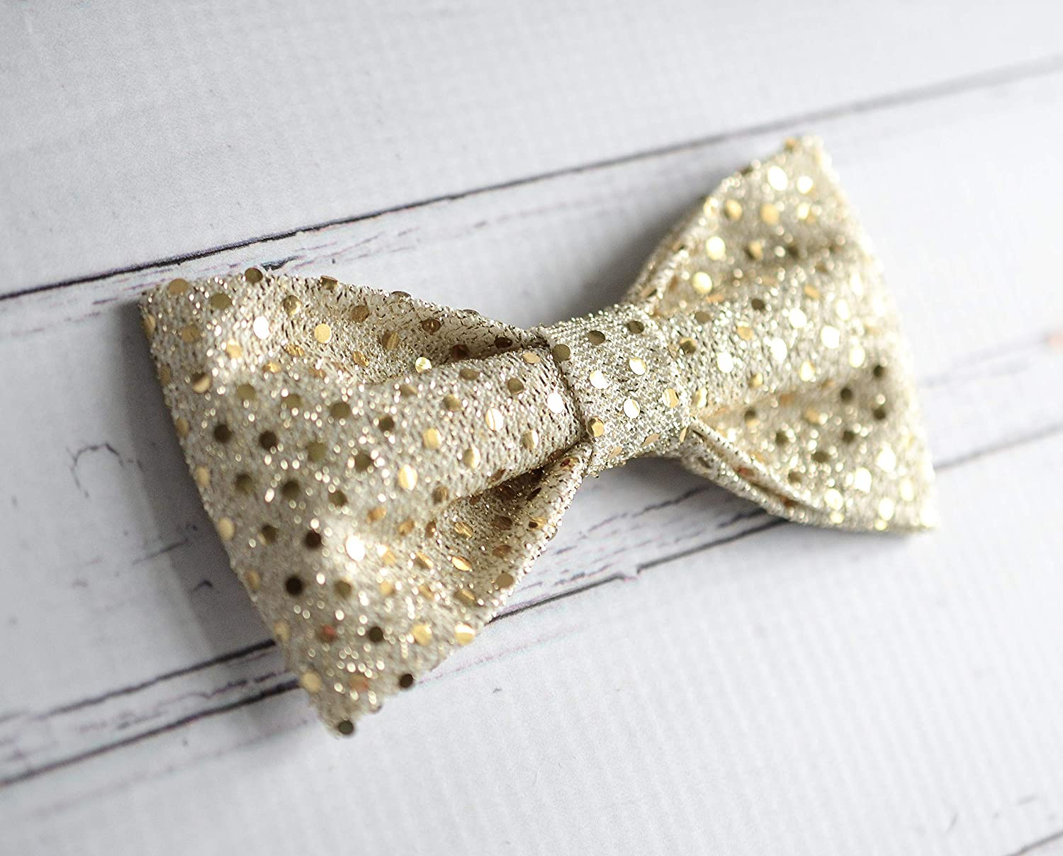 New Gold Sequin Clip-On Bow Tie Men/'s or Boys Bowtie