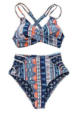 a08a03451c75 CUPSHE Women's Flower Dance High-Waisted Back Lace Bikini (X-Small (USA