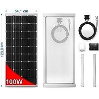 Panel Solar 100 W monocristallino para Camper. Kit completo de accesorios para el montaje y de regulador 10 A