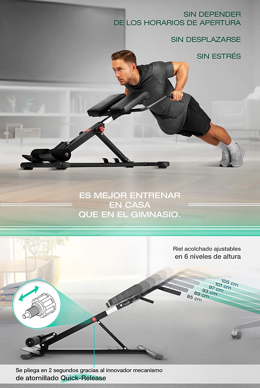 Sportstech BRT150 Entrenador de espalda y abdomen 6en1; ergonómico y ajustable; sistema único de bloqueo y fácil de plegar, diseño antideslizante, banco de ...