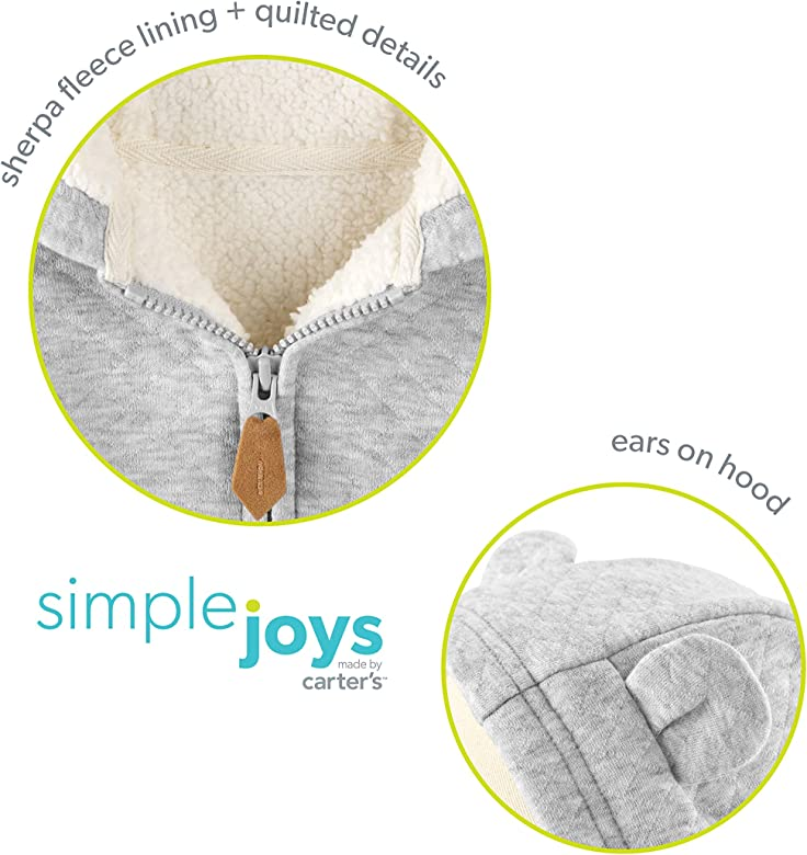 Simple Joys by Carters su/éter con capucha para ni/ños con forro de sherpa