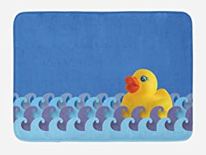 """Ambesonne Rubber Duck Bath Mat, Rubber Duck Floating on Paper Seem Water Waves Bathroom Time Childcare Image, Plush Bathroom Decor Mat with Non Slip Backing, 29.5"""" X 17.5"""", Blue Yellow"""