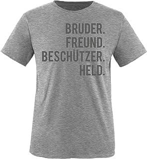 Comedy Shirts - Bruder. Freund. Beschützer. Held. - Jungen T-Shirt - Rundhals, 100% Baumwolle, Top Basic Print-Shirt