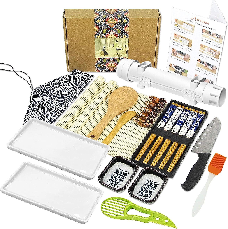 Artcome 22Pc Sushi Making Kit with Sushi Bazooka Porcelain Plates Avocado Slicer Knife Bamboo Mats Sauce Dishes Chopsticks Holders Chopsticks Tableware Bag Silicone Brush Paddle and Spreader