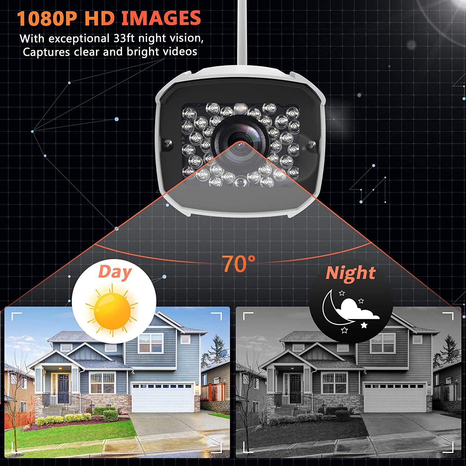 Outdoor Security Camera 1080P WiFi Camera Wireless Surveillance Cameras IP Camera with TwoWay Audio