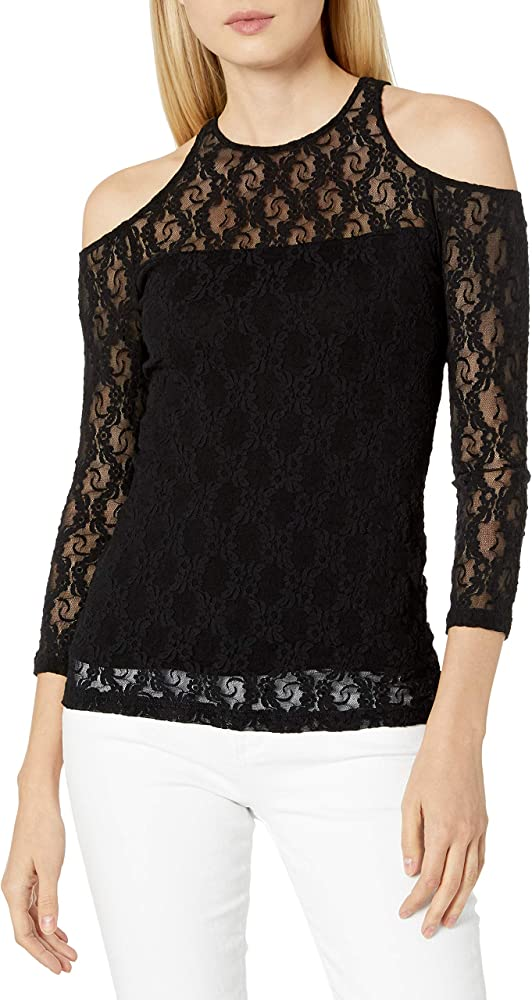Only Hearts Womens Stretch Lace Cold Shoulder Top