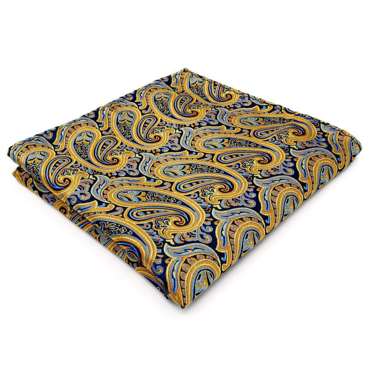 Shlax&Wing Paisley Yellow Blue Mens Pocket Square Hanky Handkerchief Silk QH13