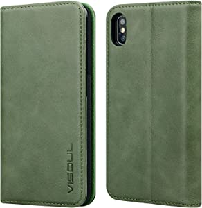 VISOUL iPhone 10/X/XS Folio Case, Genuine Leather Flip Book Case with Kickstand, Credit Card Slots & Magnetic Closure Protective Cover Wallet Case Apple iPhone X/10/XS (5.8-inch) (Green)
