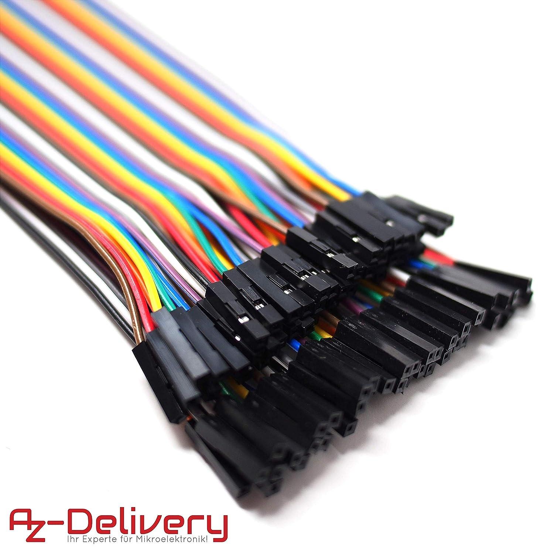 AZDelivery ⭐⭐⭐⭐⭐ Jumper Wire cables de Puente 5 x 40 piezas pines hembra a hembra para Arduino y Raspberry Pi Breadboard