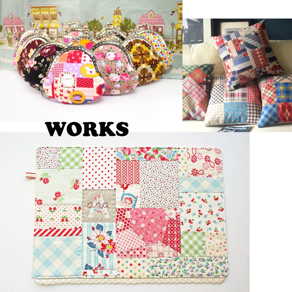 flic-flac 200pcs 4 x 4 inches (10cmx10cm) Cotton Craft Fabric Bundle Squares Patchwork Lint DIY Sewing Scrapbooking Quilting Dot Pattern Artcraft by flic-flac (Image #7)