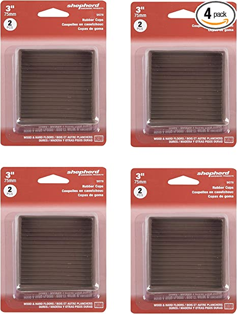 Shepherd Caster Cup 3 X 3 Brown Rubber 4 Count