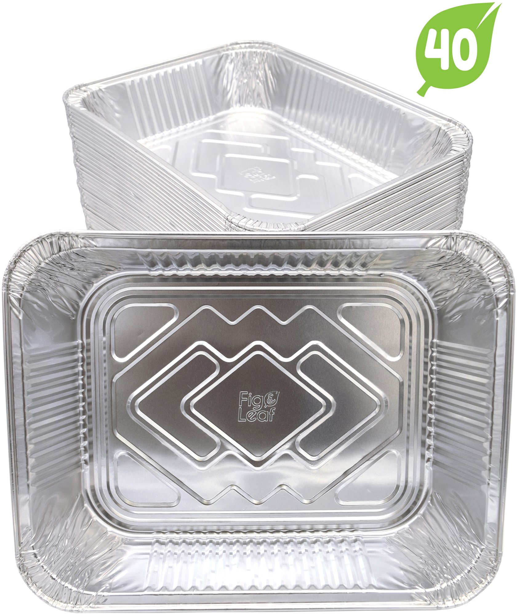 (40 Pack) Aluminum Disposable Half Size Deep Chafing Pans l Size 9'' x 13'' l Premium Foil Steam Pan Oven Safe Durable Sturdy To-Go l Top Choice for Roasting Potluck Catering Party BBQ Broiling Baking