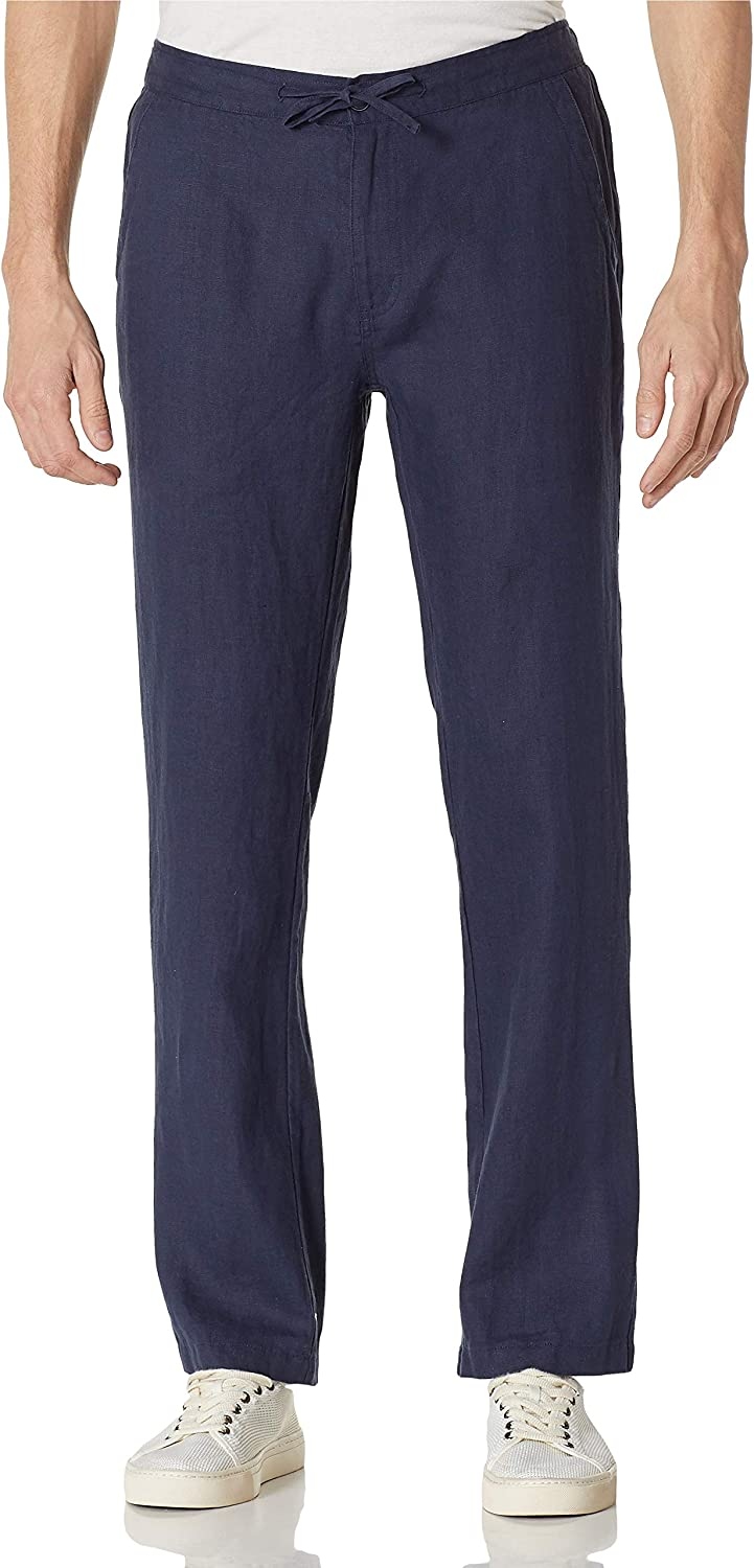 Isle Bay Linens Men's Casual 100% Linen Pants with Drawstring