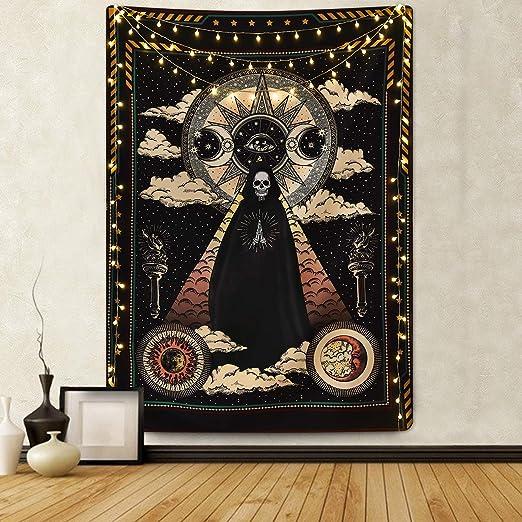 Sevenstars Wizard Skull Tapestry Solar Iris Tapestry Sun and Moon Tapestry Star and Cloud Tapestry Tarot Tapestry for Room