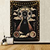 Wizard Skull Tapestry Solar Iris Tapestry Sun and Moon Tapestry Star and Cloud Tapestry Tarot Tapestry for Room