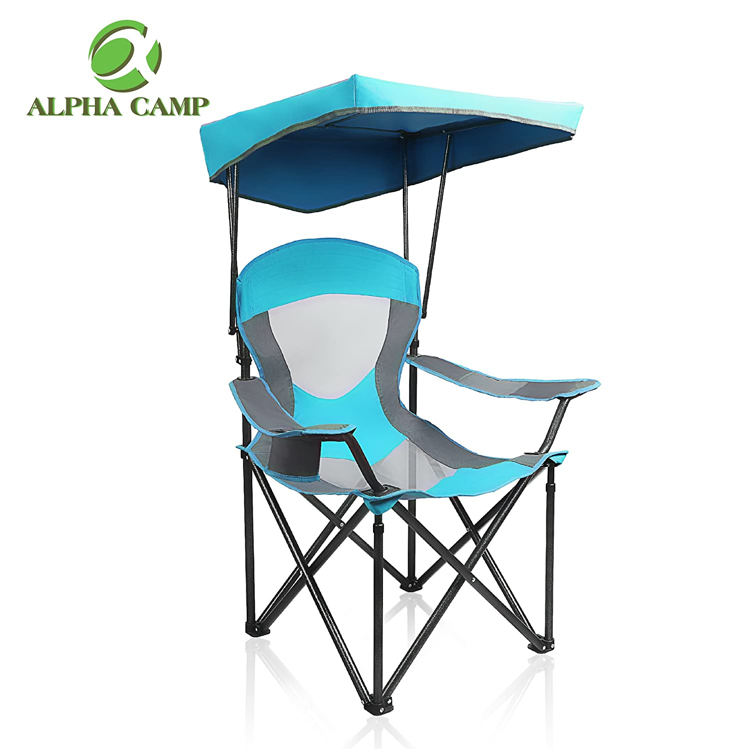 ALPHA CAMP Mesh Canopy Chair Camping Chair Folding Recliner Support 350 LBS