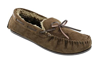 Men's Ella Alfie Faux Sheepskin Look Fur Lined Memory Foam Moccasin Slippers
