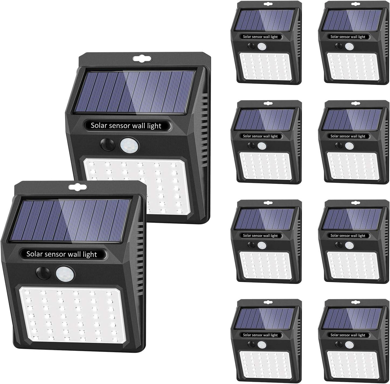Luces solares Luces con sensor de movimiento solar para exteriores, [42 LED / 3 Modos ] SEZAC Luces de seguridad inalámbricas a prueba de agua para el garaje del jardín Camino (paquete de 10)