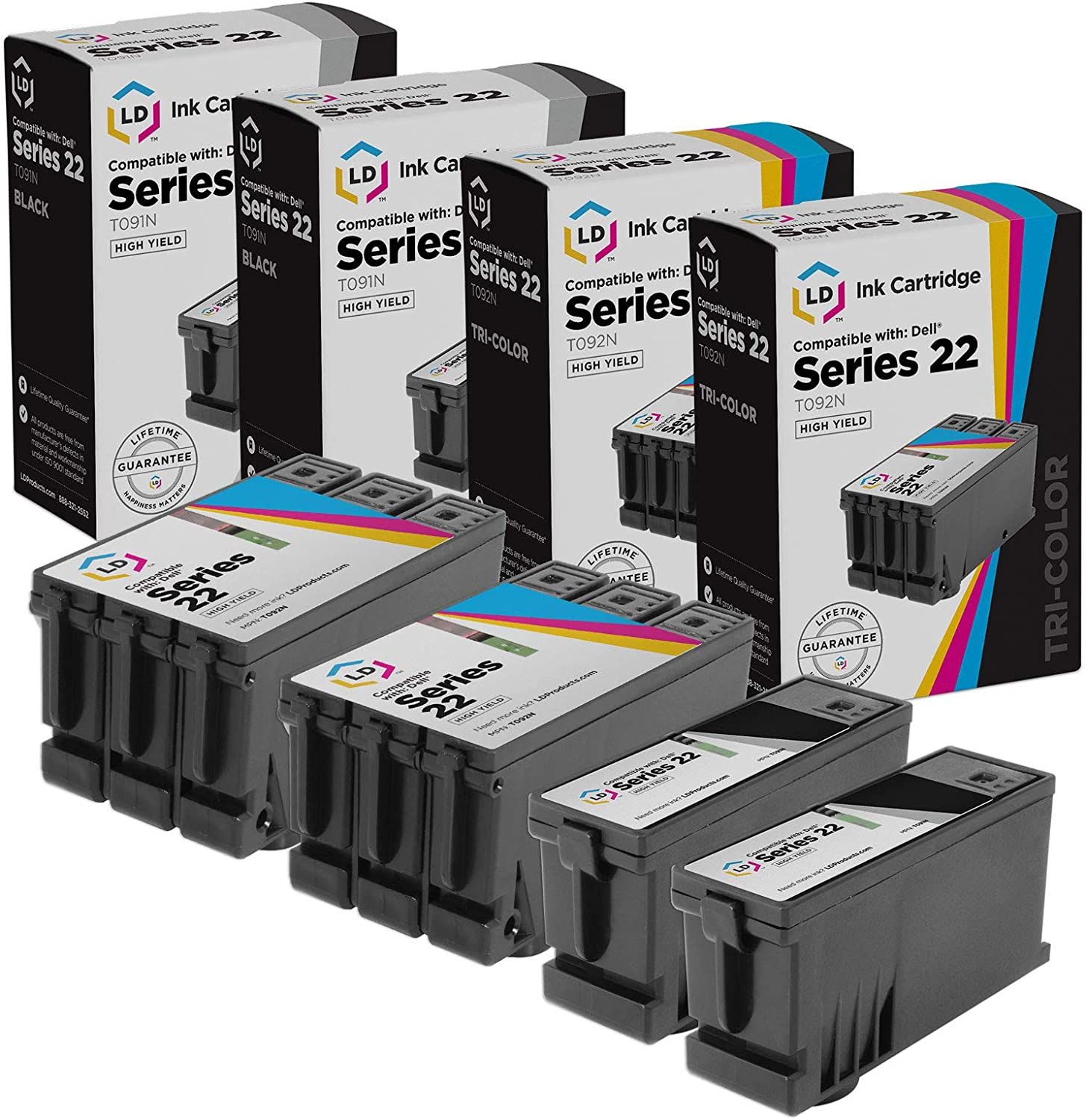 LD Compatible Ink Cartridge Replacement for Dell T091N & T092N Series 22 High Yield (2 Black, 2 Color, 4-Pack)