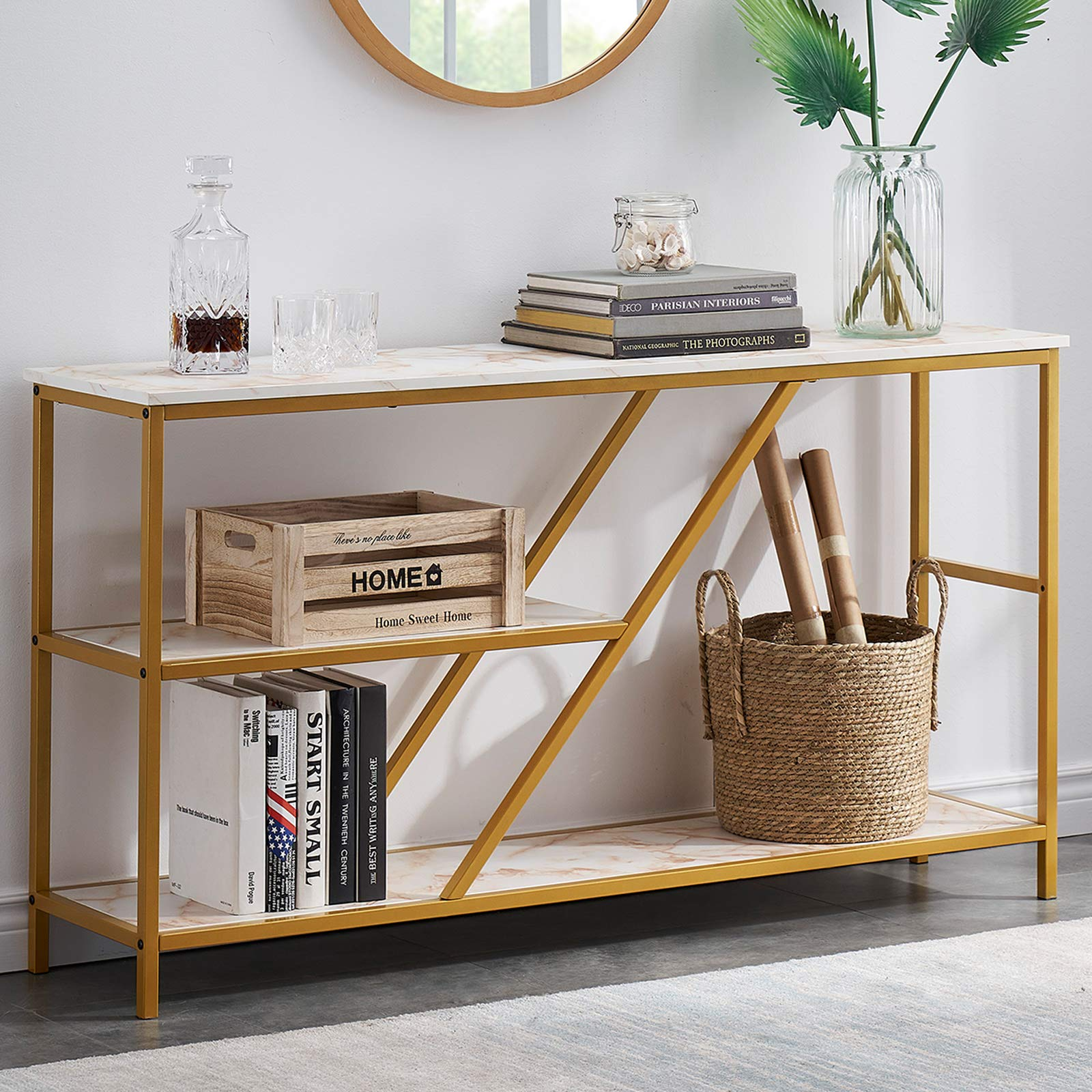 Console Tables for Entryway Modern Sofa Table with Shelves, 3 Tier Hallway Table Entry Table with Storage, Faux Marble/Gold 55 Inch