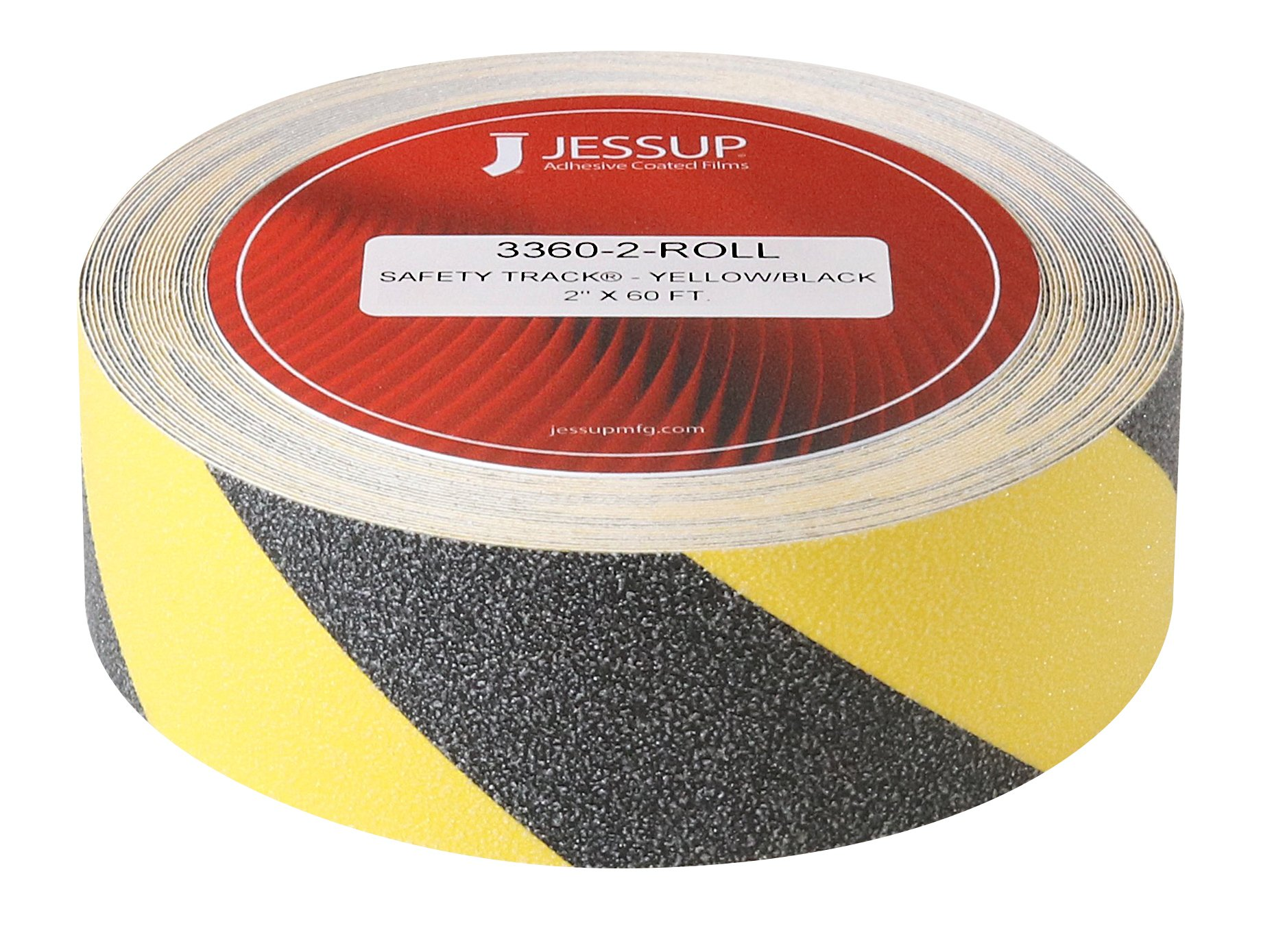 Jessup Safety Track 3360-2 Black and Yellow Non-slip and marking safety tape. Long-lasting, High traction, Made in the U.S.A, Manufacturer Direct (2 inch x 60 foot Roll)