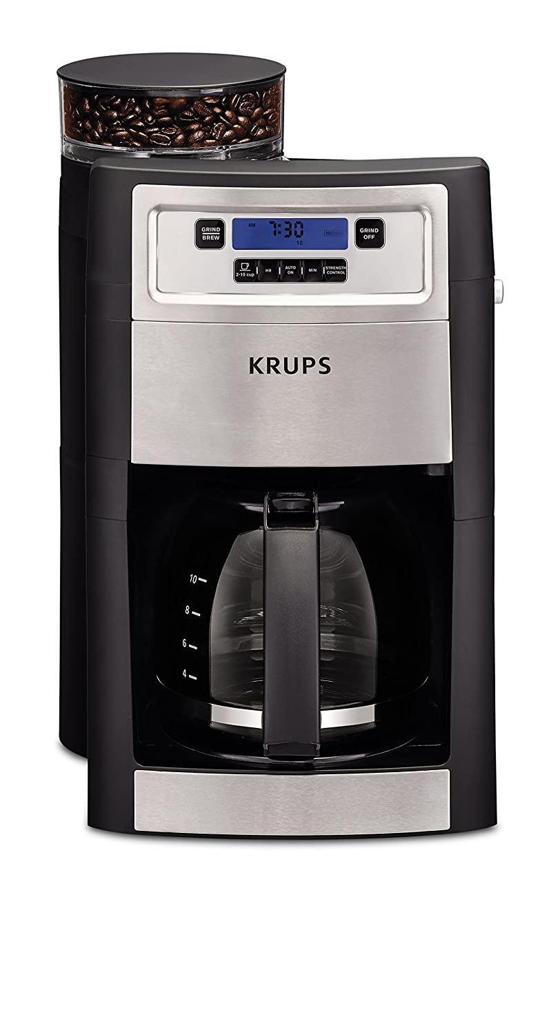 KRUPS KM785D50 Automatic Programmable Grind and Brew Coffee Maker with integrated Burr Grinder and Keep Warm, Black