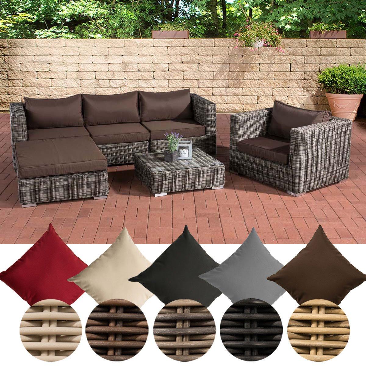clp poly rattan lounge set pamplona 5 mm rund geflecht rattan farbe grau meliert bezugfarbe. Black Bedroom Furniture Sets. Home Design Ideas