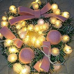 Amazon S C Live クリスマスリース 30cm オーナメント付 レッドボール ウール素材 レッド 赤 可愛い キュート おしゃれ 素敵 ユニークなイルミネーションライト付 光る クリスマス リース 玄関ドア 壁掛け 壁飾り 癒し クリスマス リース リアル 手作り X Mas リース