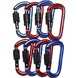 Bloccaggio D-Ring moschettone 10Pack, Premium in alluminio, piccolo con moschettone di sicurezza, Spring Lock in rosso e blu