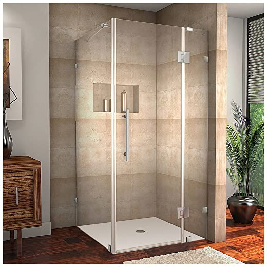 Aston Avalux Completely Frameless Shower Enclosure, 37 x 30 x 72 , Polished Chrome