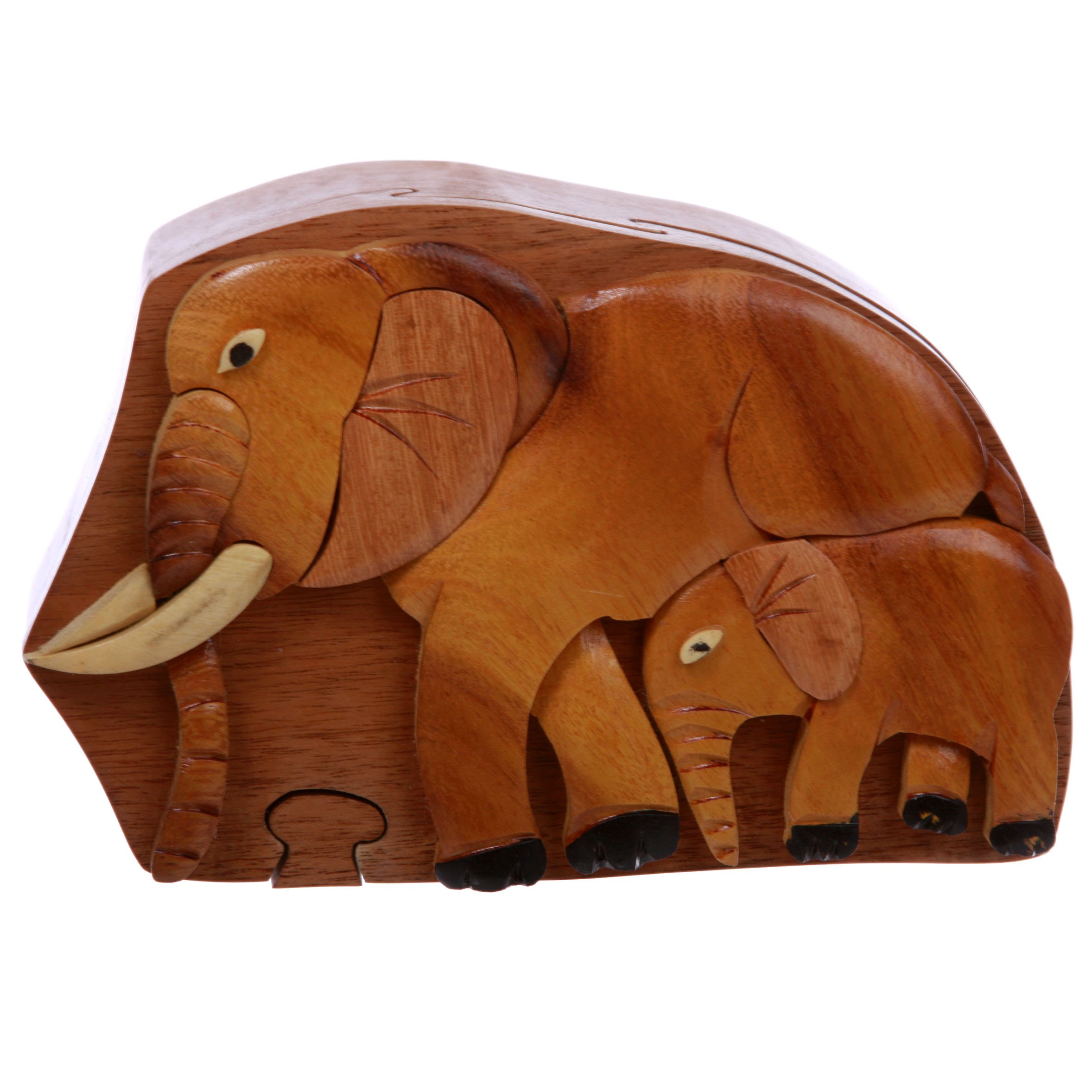 Elephant Lover Handmade Wooden Secret Jewelry Puzzle Box, Gift for Lady or Man