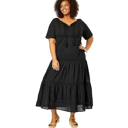 Woman Within Women\'s Plus Size Crochet Trim Tassel-Tie Dress ...
