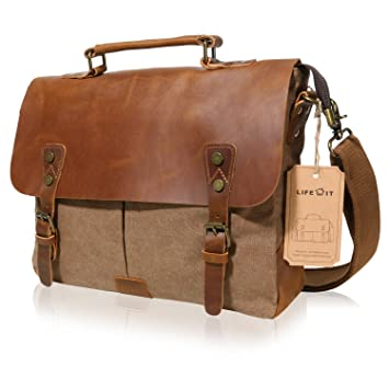c07849d07e2 Amazon.com  Lifewit Men Briefcase Leather Canvas Laptop Satchel Messenger  Work Bag Fit up to 13.3-inch, Coffee  Clothing