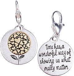 72491f5d7341e Amanda Blu Heartfelt Emotions Silver 2-Tone Medallion - Hearts Flower