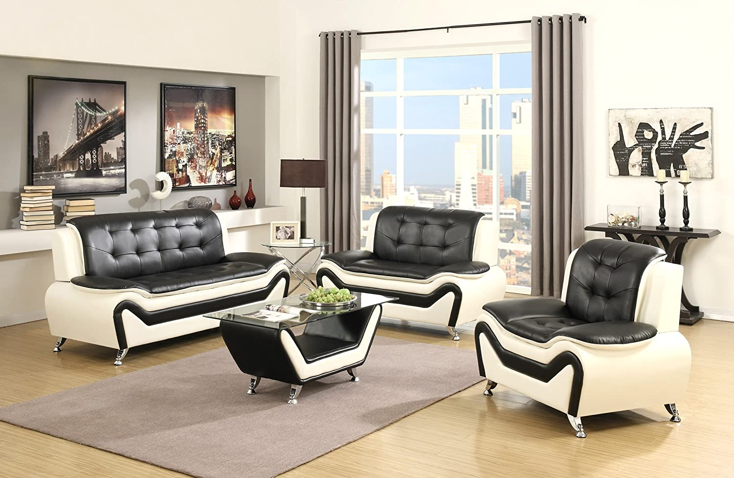 Amazon US Pride Furniture 3 Piece Modern Bonded Leather Sofa Set With Loveseat And Chair White Black Kitchen Dining