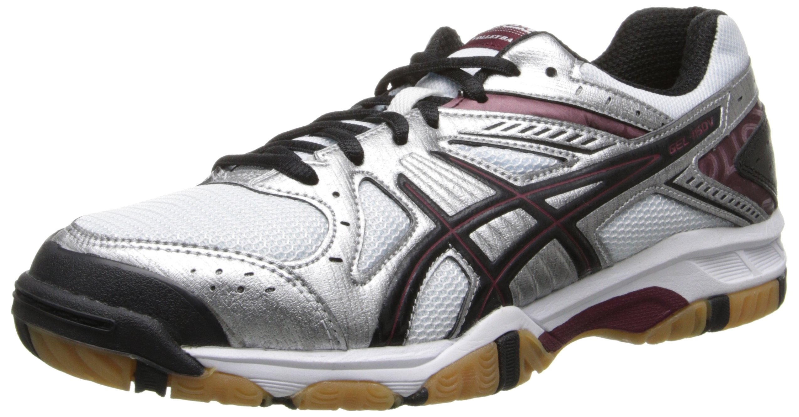 ASICS Women's Gel 1150V Volley Ball Shoe,Silver/Cardinal/Black,6.5 M US
