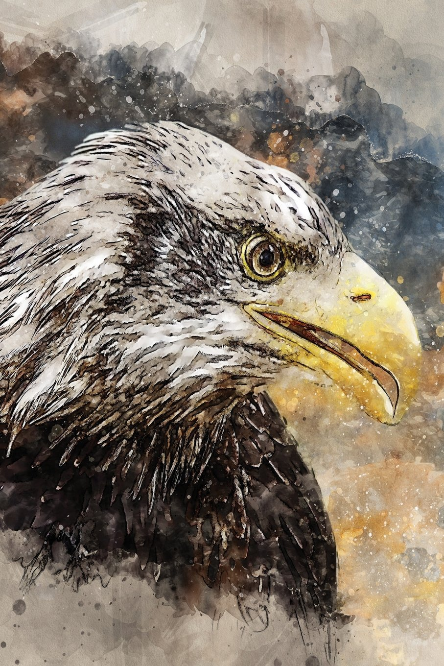 Read Online North American Bald Eagle Watercolor Journal: Blank Daily Writing Notebook Diary with Ruled Lines (Birds of Prey) pdf