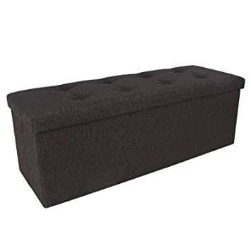 Amazoncom SONGMICS Linenlike Folding Storage Ottoman Bench Foot