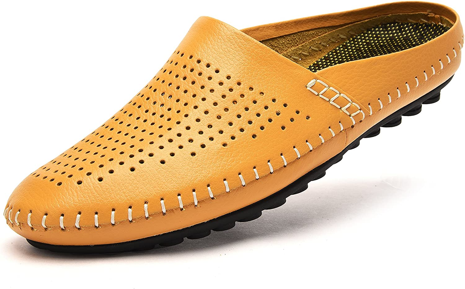 V.J Men's Classic Handsewn Genuine Leather House Slippers Office Slippers Casual Breathable Sandals