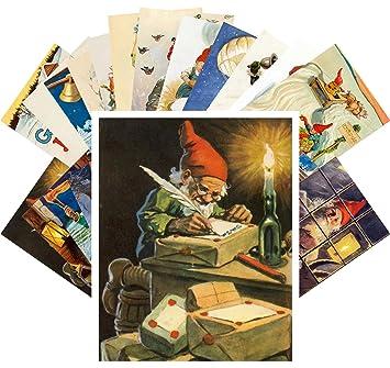 Christmas Illustrations Vintage.Postcard Set 24pcs Christmas Dwarves Vintage Illustrations By Jenny Nystrom