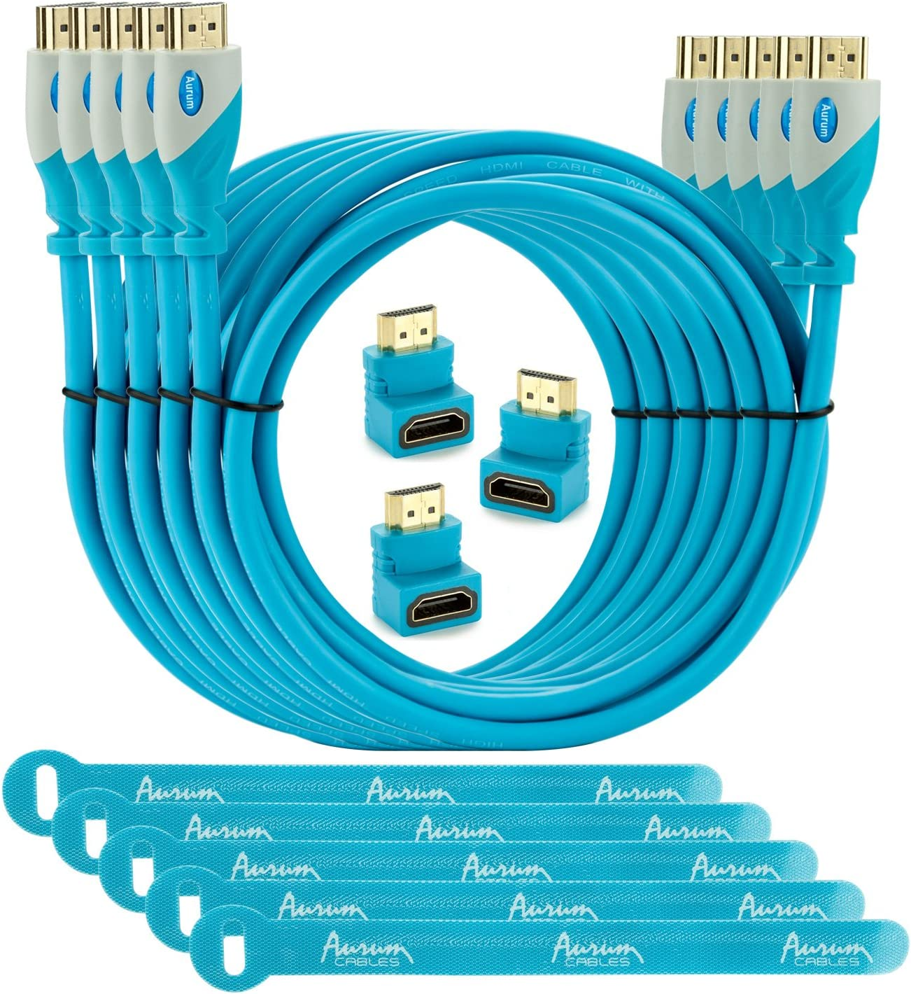 - 6 Feet Supports 3D /& Audio Return Channel Aurum Pro Series With Three 90 Degree Angle Adapter and Velcro Cable Ties Pack of 5 High Speed HDMI Cable 6 Ft with Ethernet 5 Pack Latest Version