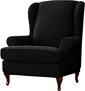 subrtex 2-Piece Wingback Chair Covers Stretch Wingback Chair Cushion Slipcovers Seat Cover Elastic Furniture Protector in Living Room (Black)