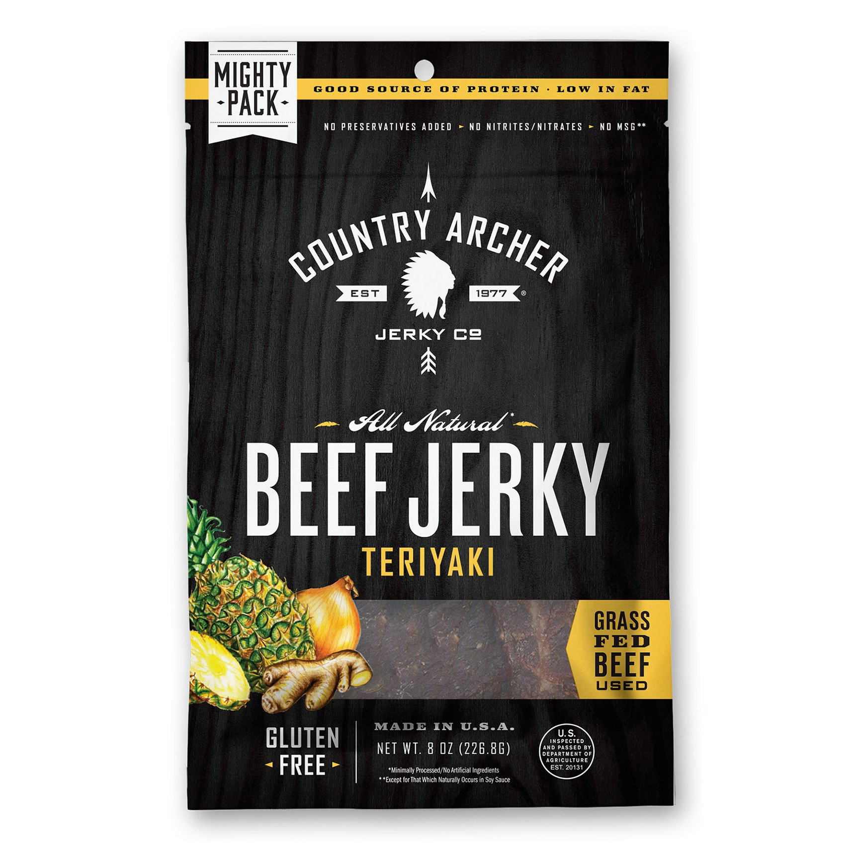 Country Archer 100% Grass-Fed Gluten Free Beef Jerky, Teriyaki, 8 Ounce